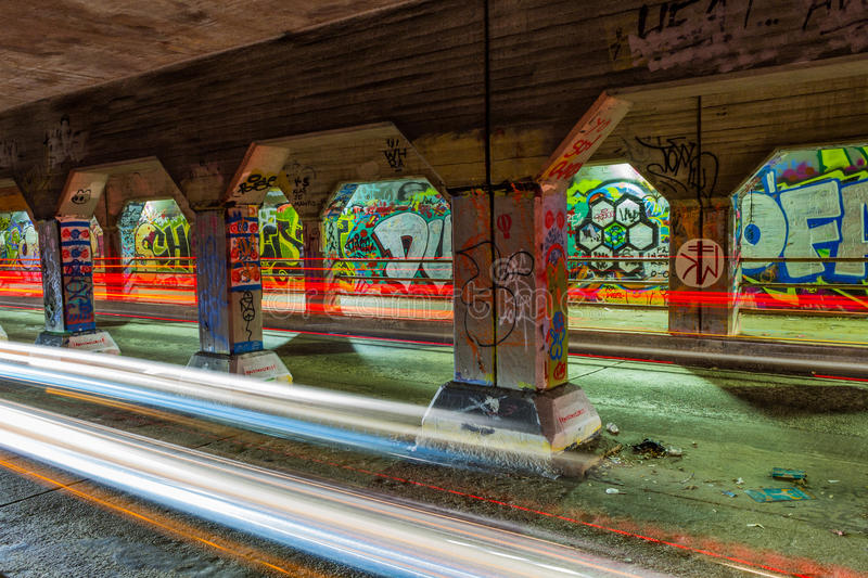 Graffiti on the walls of Krog Street Tunnel in stock images