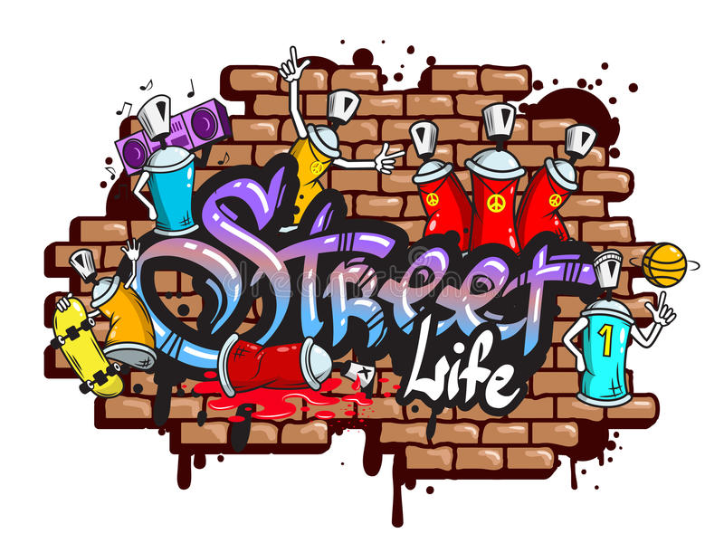 Graffiti word characters composition royalty free illustration
