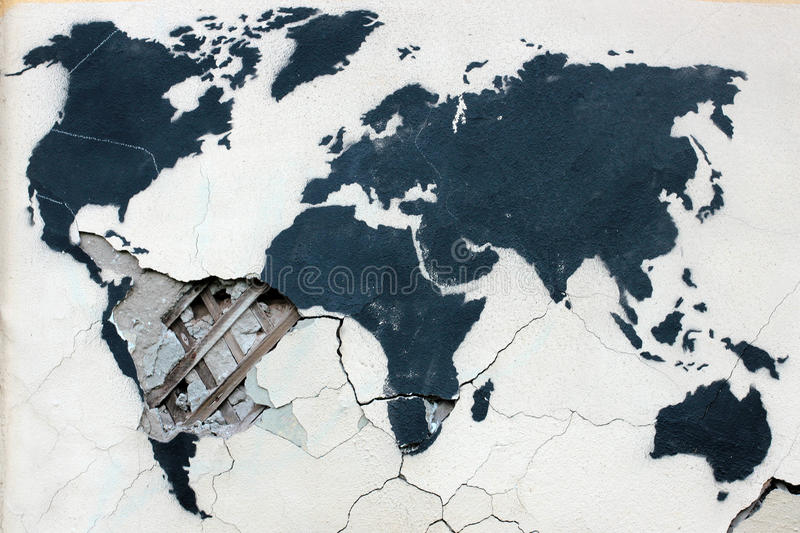 Graffiti world map on the old ruined stock illustration