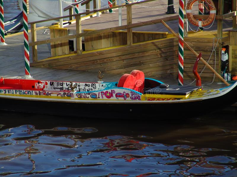 Graffiti writing on Gondola in Puerto Madero. Gondola rides in the heart of Puerto Madero in Buenos Aires royalty free stock photography