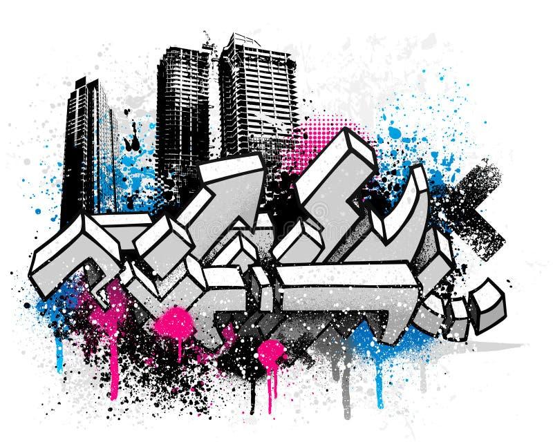 Graffitiachtergrond van de stad royalty-vrije illustratie