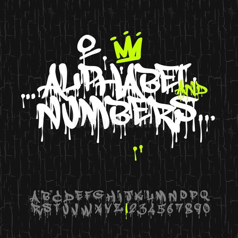 Graffitialfabet en aantallen vector illustratie