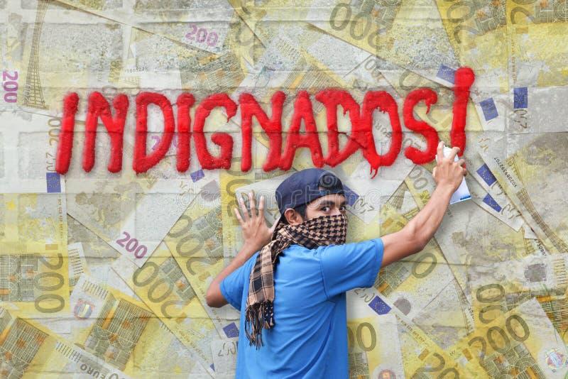 Graffitieuro van Indignados royalty-vrije stock fotografie