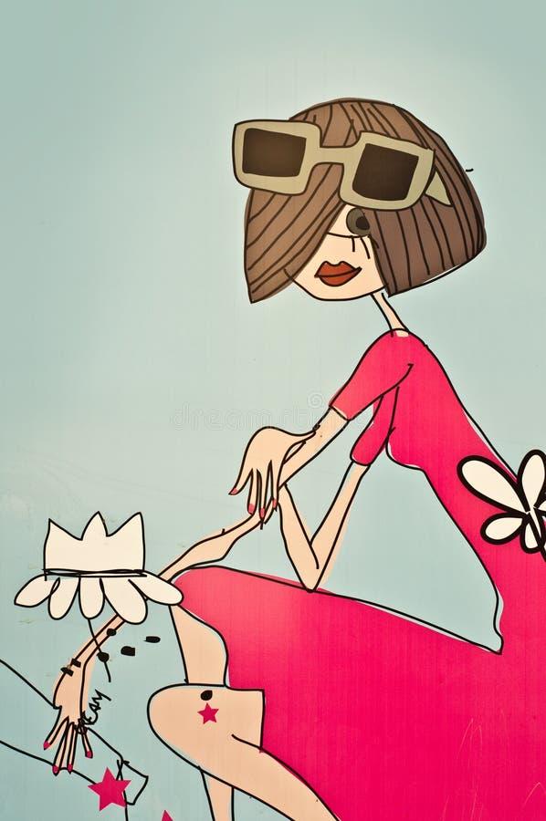 Graffitifrau mit Sonnenbrille stock abbildung