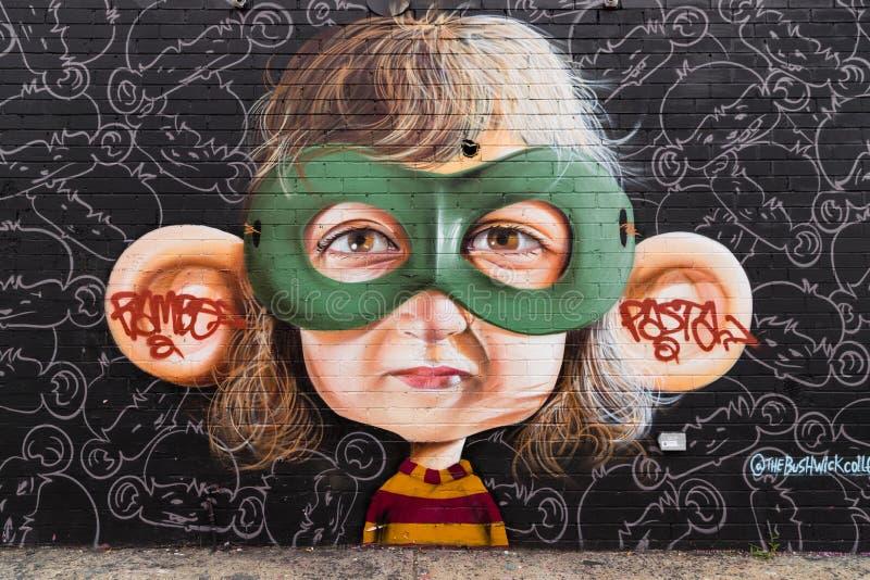 Graffitikunst in Bushwick de Stad in van Brooklyn, New York, de V.S. stock afbeelding