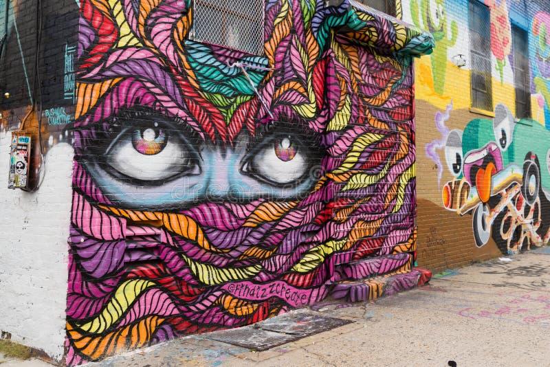 Graffitikunst in Bushwick de Stad in van Brooklyn, New York, de V.S. royalty-vrije stock fotografie