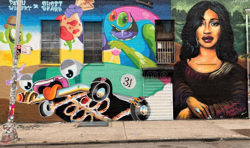 Graffitikunst in Bushwick de Stad in van Brooklyn, New York, de V.S. stock foto's