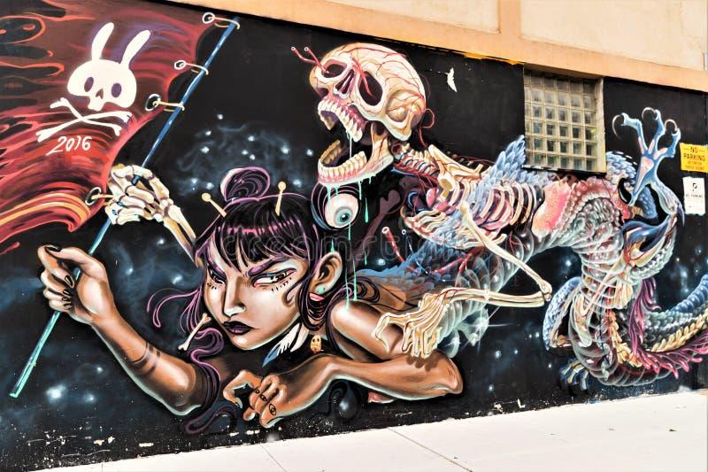 Graffitikunst in Bushwick de Stad in van Brooklyn, New York, de V.S. stock foto