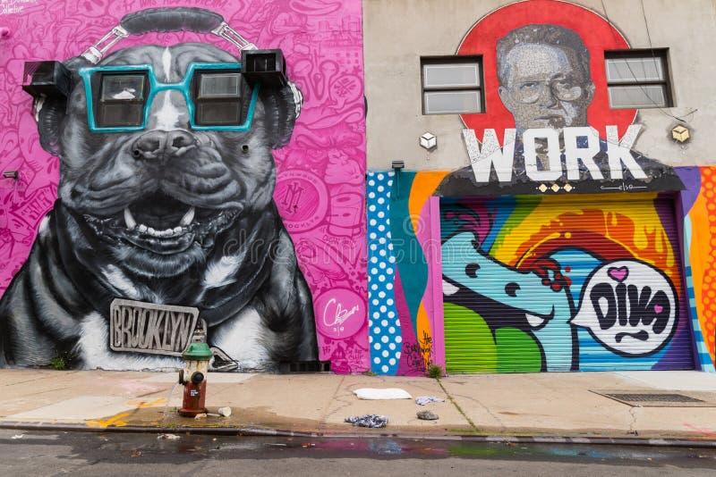 Graffitikunst in Bushwick de Stad in van Brooklyn, New York, de V.S. royalty-vrije stock foto's