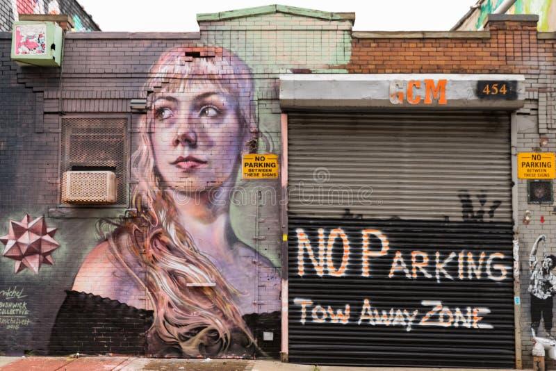 Graffitikunst in Bushwick de Stad in van Brooklyn, New York, de V.S. stock fotografie
