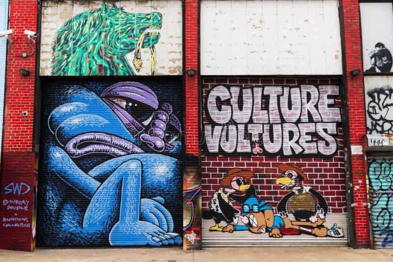 Graffitikunst in Bushwick de Stad in van Brooklyn, New York, de V.S. royalty-vrije stock foto