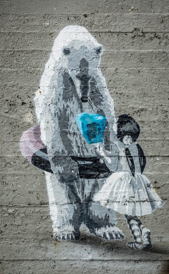 Graffitikunst op de muur op Onderstel Ulriken royalty-vrije stock foto's