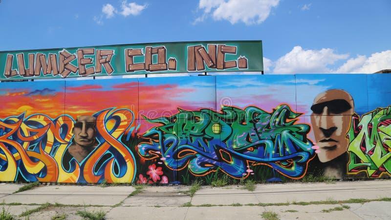 Graffitikunst in Ost-Williamsburg in Brooklyn stockbild