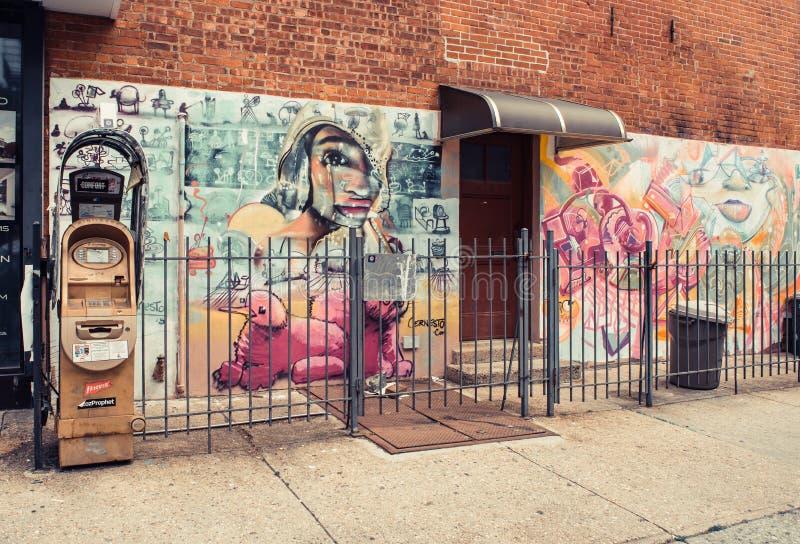 Graffitikunst in Williamsburg in Brooklyn stock afbeeldingen