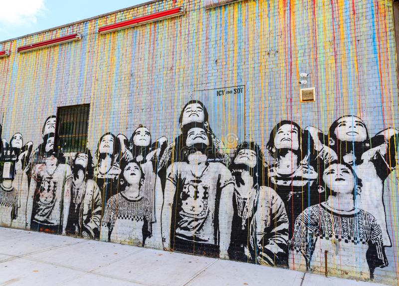 Graffitikunst in Williamsburg de Stad in van Brooklyn, New York, de V.S. royalty-vrije stock afbeelding
