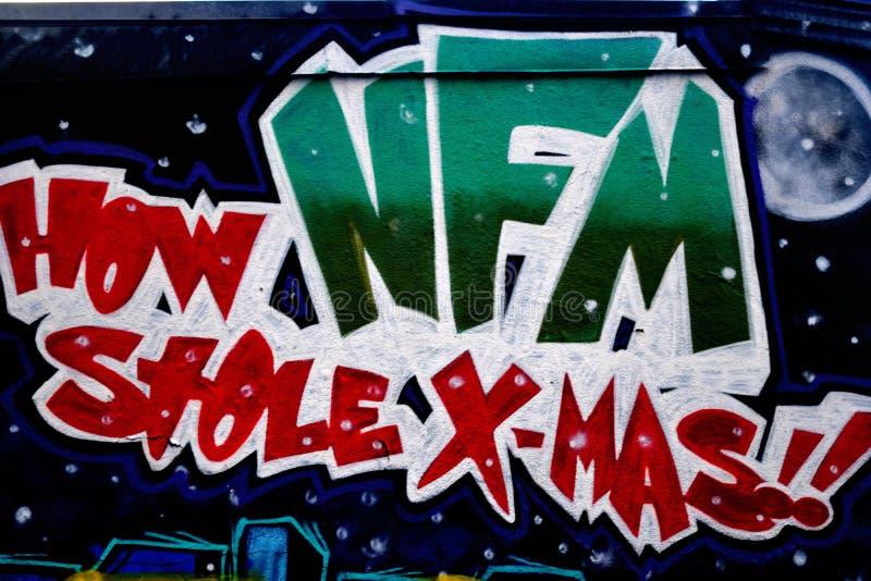 Graffitimuur, Houston Van de binnenstad, TX-Kerstmis royalty-vrije stock afbeelding