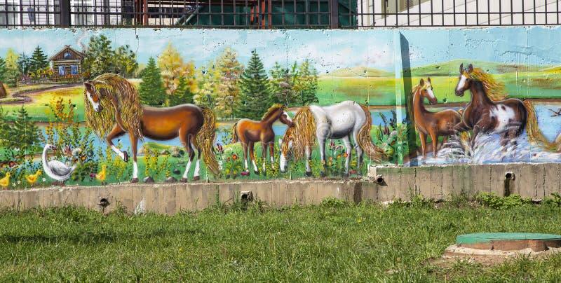 Graffitimuur op Straat openbare galerij royalty-vrije stock foto's