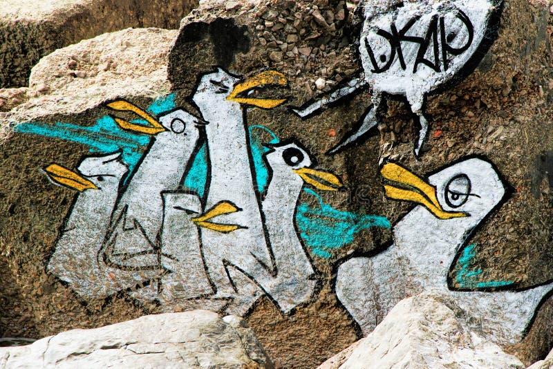 Graffitipinguïnen royalty-vrije stock afbeelding