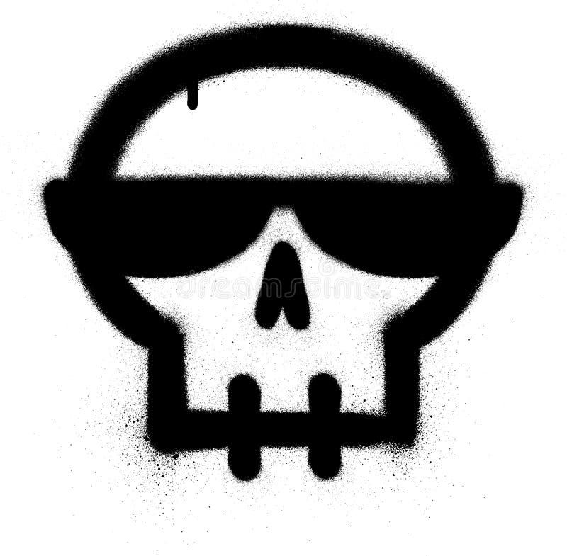 Graffitischädel mit Sonnenbrille sprühte in Schwarzes über Weiß stock abbildung