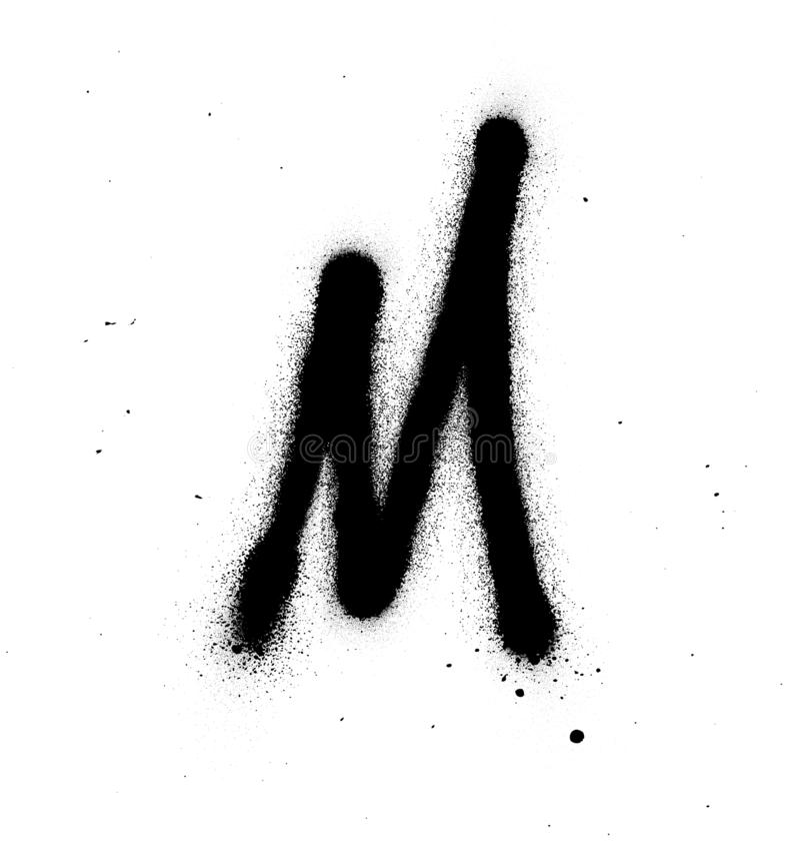 Graffiti thin M font sprayed in black over white. Graffiti thin M font sprayed in black on white vector illustration