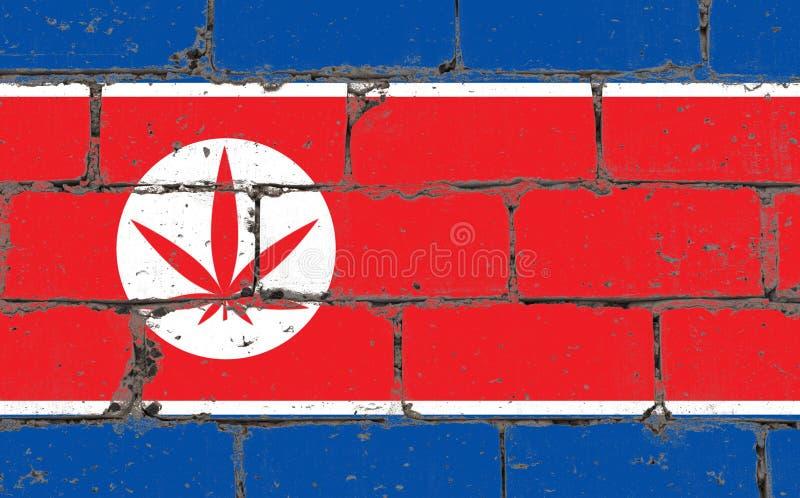 Graffitistraßenkunst-Sprayzeichnung auf Schablone Hanfblatt auf Backsteinmauer mit Flagge DPRK stockfotografie