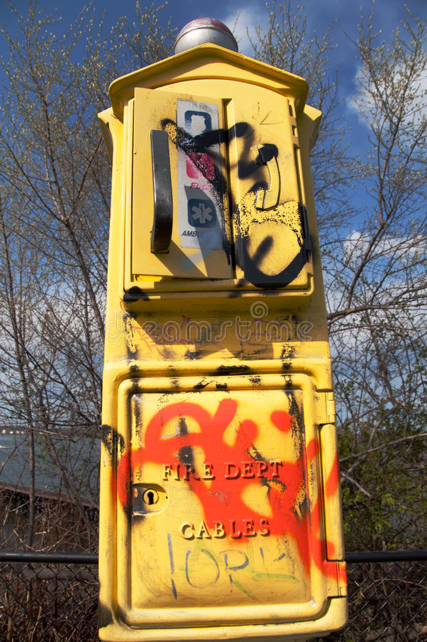Download Graffitized Emergency Call Box Stock Image - Image: 14268425