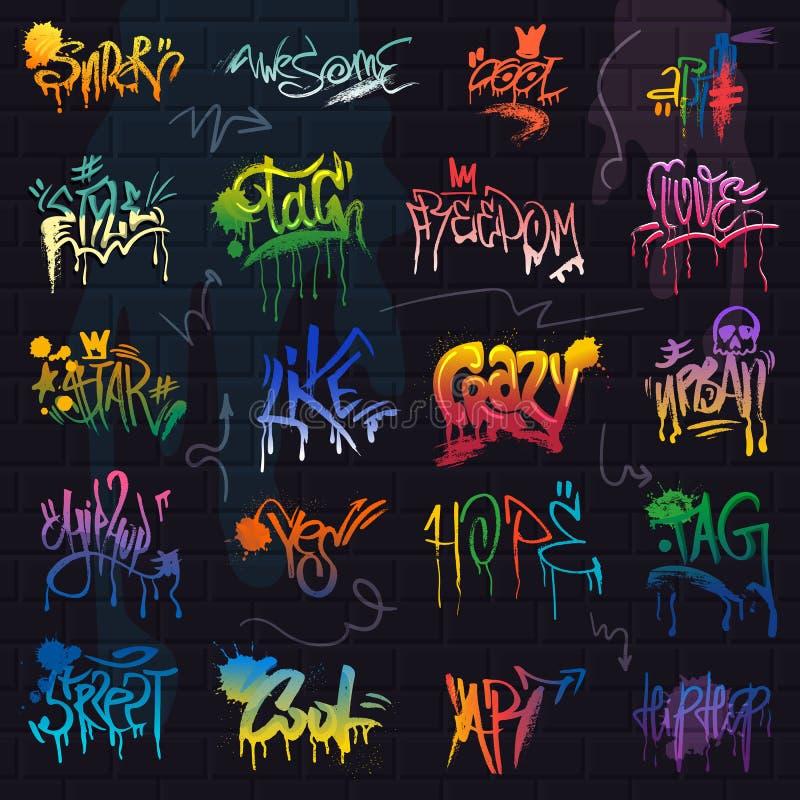 Graffito do vetor dos grafittis do grupo da rotulação da pincelada ou da ilustração da tipografia do grunge do gráfico de texto d ilustração do vetor