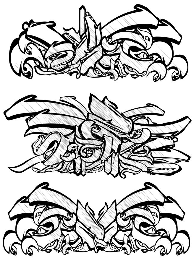Graffitti sketch in black and white vector illustration