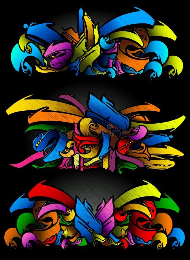 Graffitti Skizze stellte in vibrierende Farben ein lizenzfreie abbildung