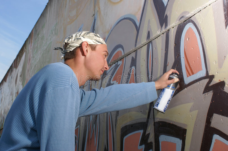 Graffity målare arkivbild