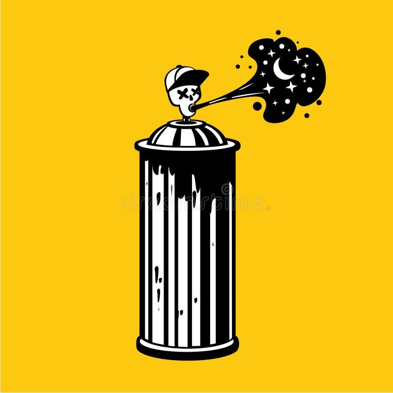 Graffity-Spraydose mit dem Schädel auf Kappe Zeitgenosseuntertagekunst Tätowierungsart-Vektoremblem lizenzfreie abbildung