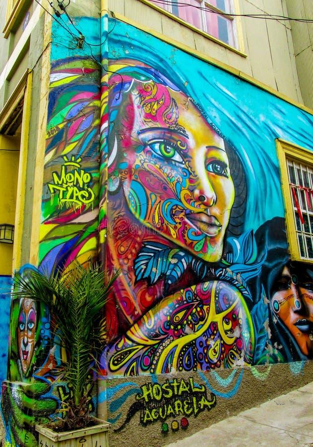 Graffity variopinto di Valparaiso della città fotografia stock libera da diritti