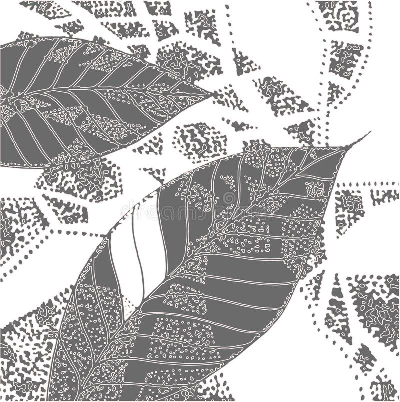 Grafic gray design leaves vector illustration