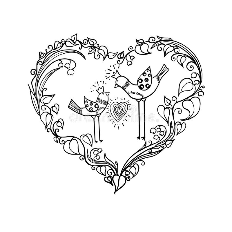 Two love birds with heart floral ornament. Love print concept. monochrome Vector EPS 10 illustration. stock illustration