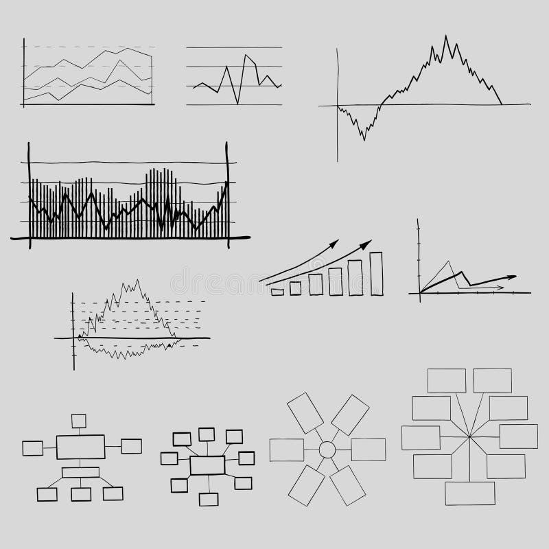 Grafici, commercio ed elementi di finanze. illustrazione di stock