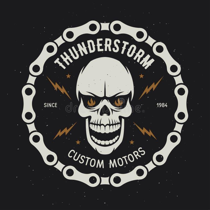 Grafici d'annata della maglietta del motociclo thunderstorm Motori su ordinazione Illustrazione di vettore illustrazione di stock