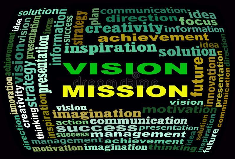 Grafici del testo di informazioni di MISSIONE di VISIONE e concetto di disposizione illustrazione vettoriale