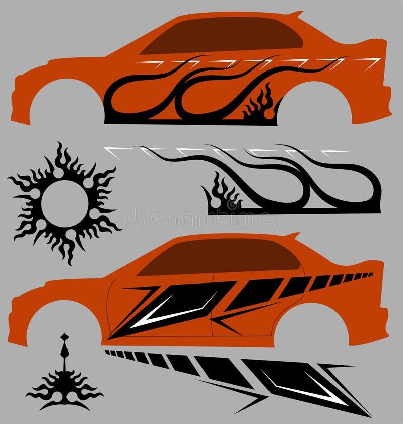 Grafici del veicolo, banda: Vinile pronto illustrazione di stock