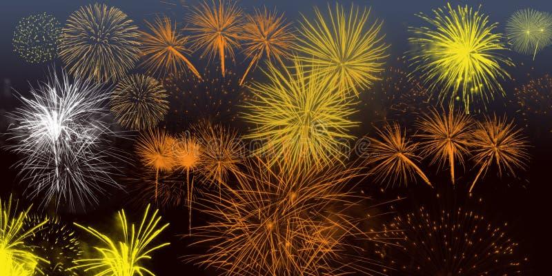 Grafici dell'insegna del manifesto della carta da parati del fondo dei fuochi d'artificio di festival fotografia stock
