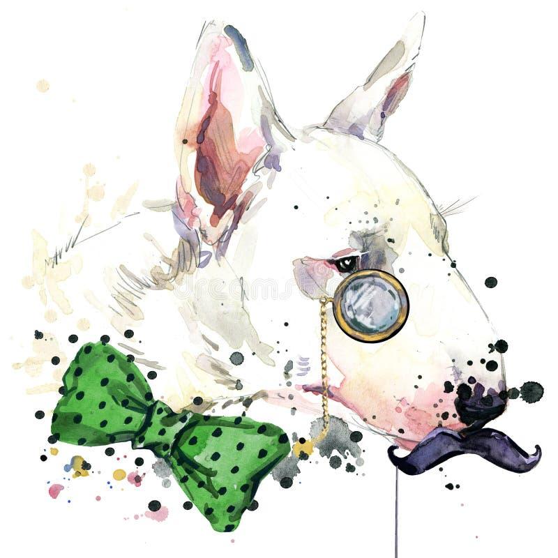 Grafici della maglietta del cane di bull terrier Illustrazione del cane con il fondo strutturato dell'acquerello della spruzzata  illustrazione di stock