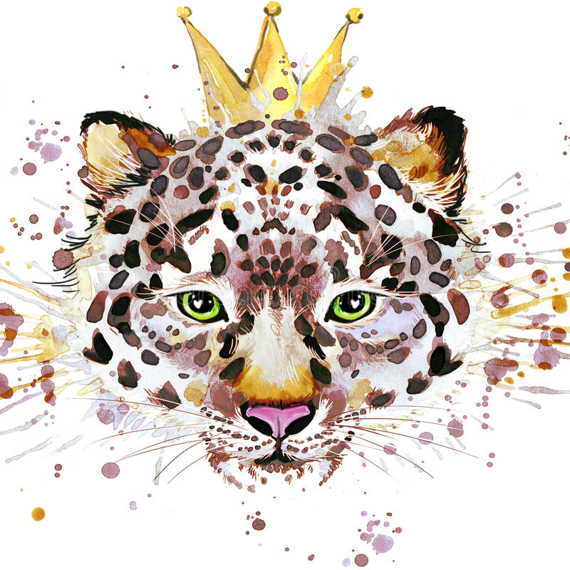 Grafici della maglietta del leopardo Illustrazione del leopardo con il fondo strutturato dell'acquerello della spruzzata acquerel illustrazione di stock