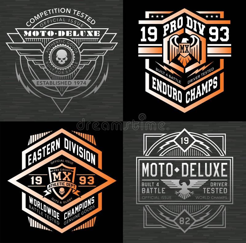 Grafici della maglietta dell'emblema di sport di motore illustrazione vettoriale
