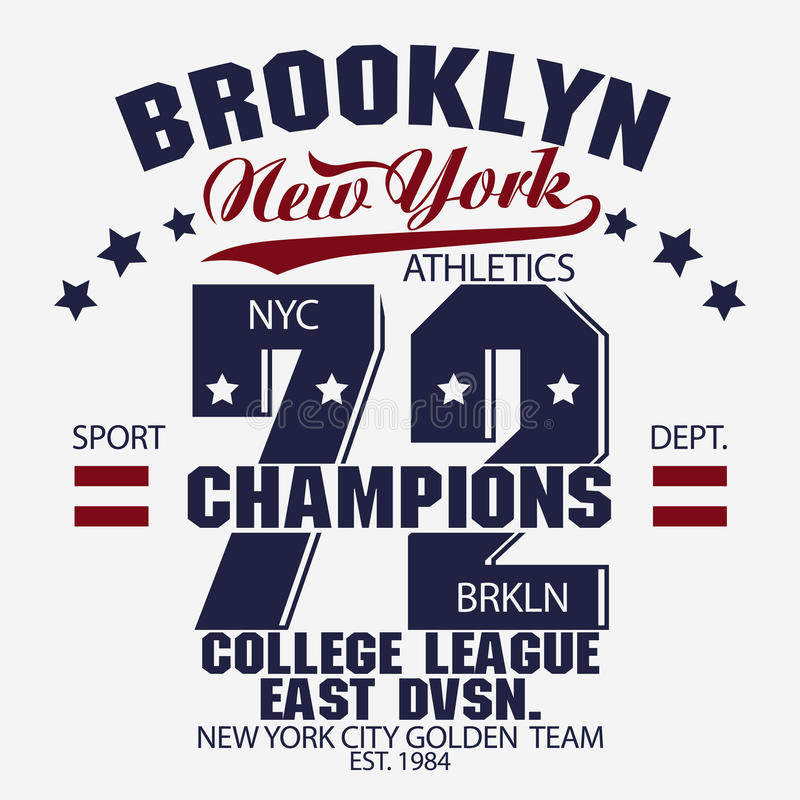 Grafici della maglietta di Brooklyn illustrazione vettoriale