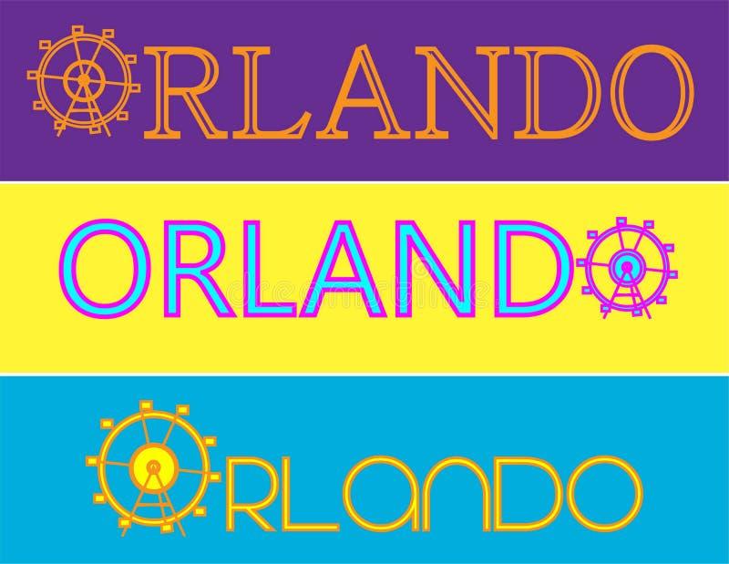 Grafici delle attrazioni di tipografia di Orlando, vettori illustrazione vettoriale