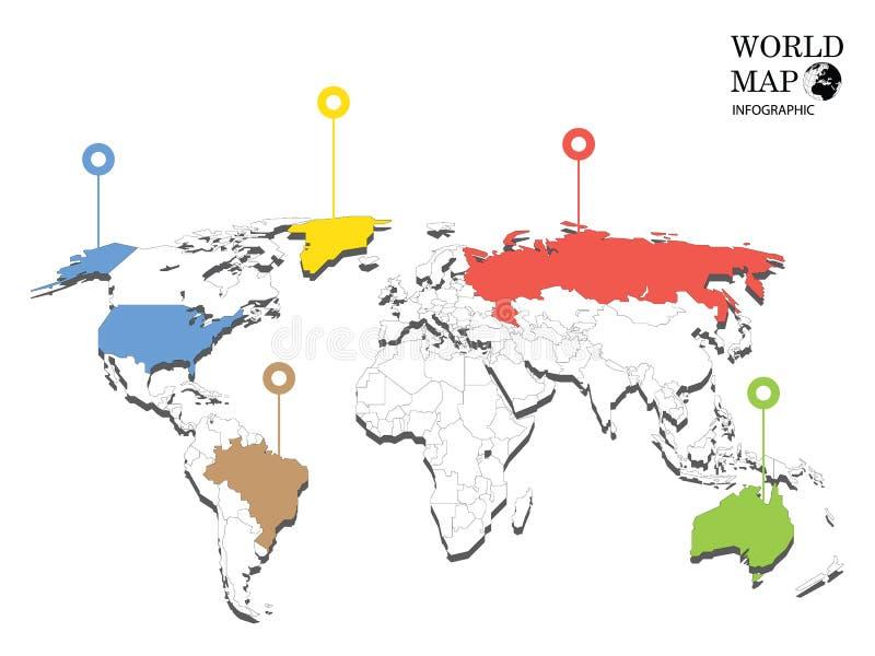 Grafici di informazioni della mappa di mondo illustrazione vettoriale