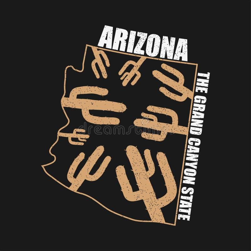 Grafici di tipografia dell'Arizona per la maglietta con la mappa dello stato e del cactus Stampa di lerciume per abito, vestiti V royalty illustrazione gratis