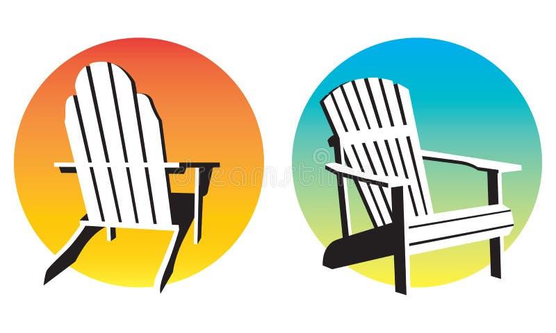 Grafici di tramonto della sedia di Adirondack royalty illustrazione gratis