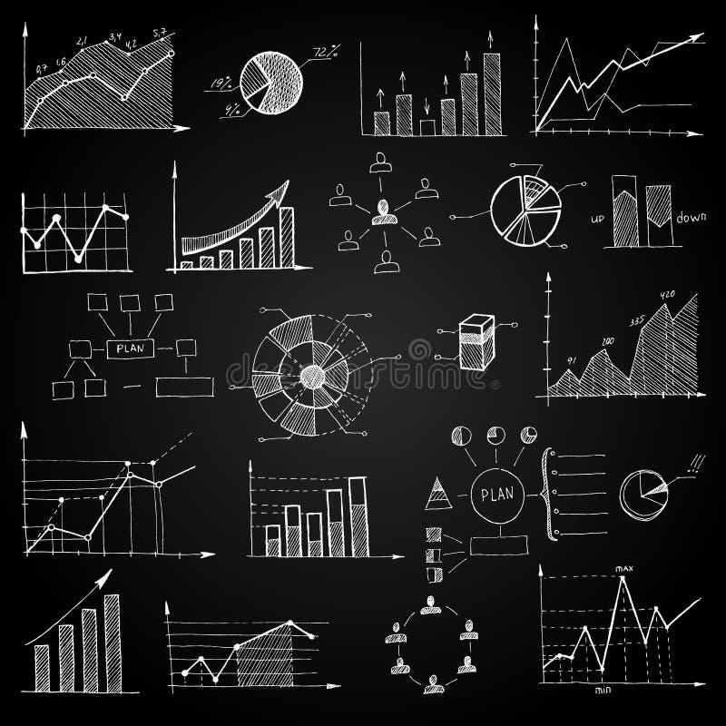 Grafici di web di scarabocchio del bordo di gesso illustrazione di stock
