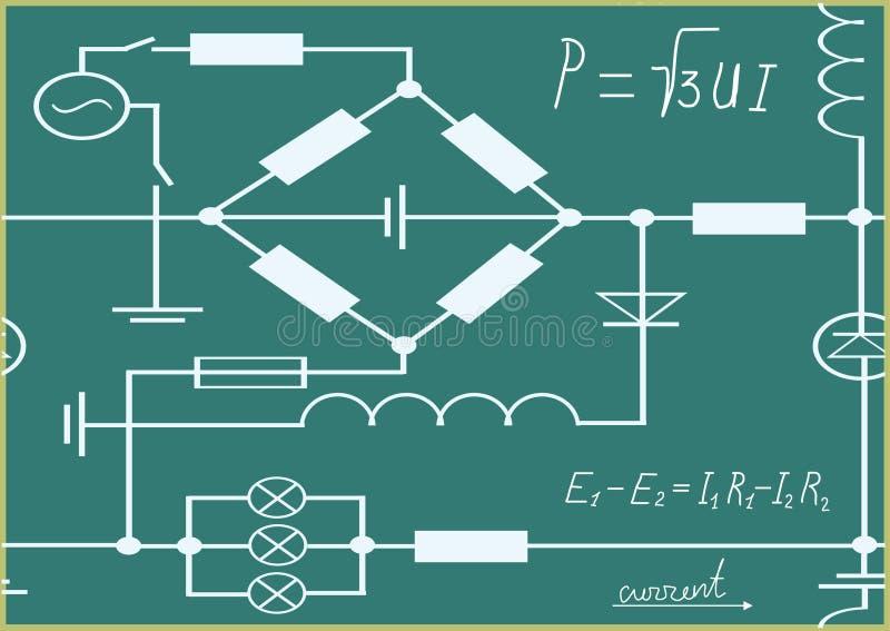 Grafici, diagramma e formule di elettricità. illustrazione vettoriale
