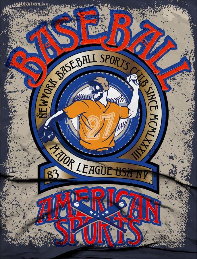 Grafici per la maglietta, grafici dell'istituto universitario di baseball di baseball illustrazione di stock